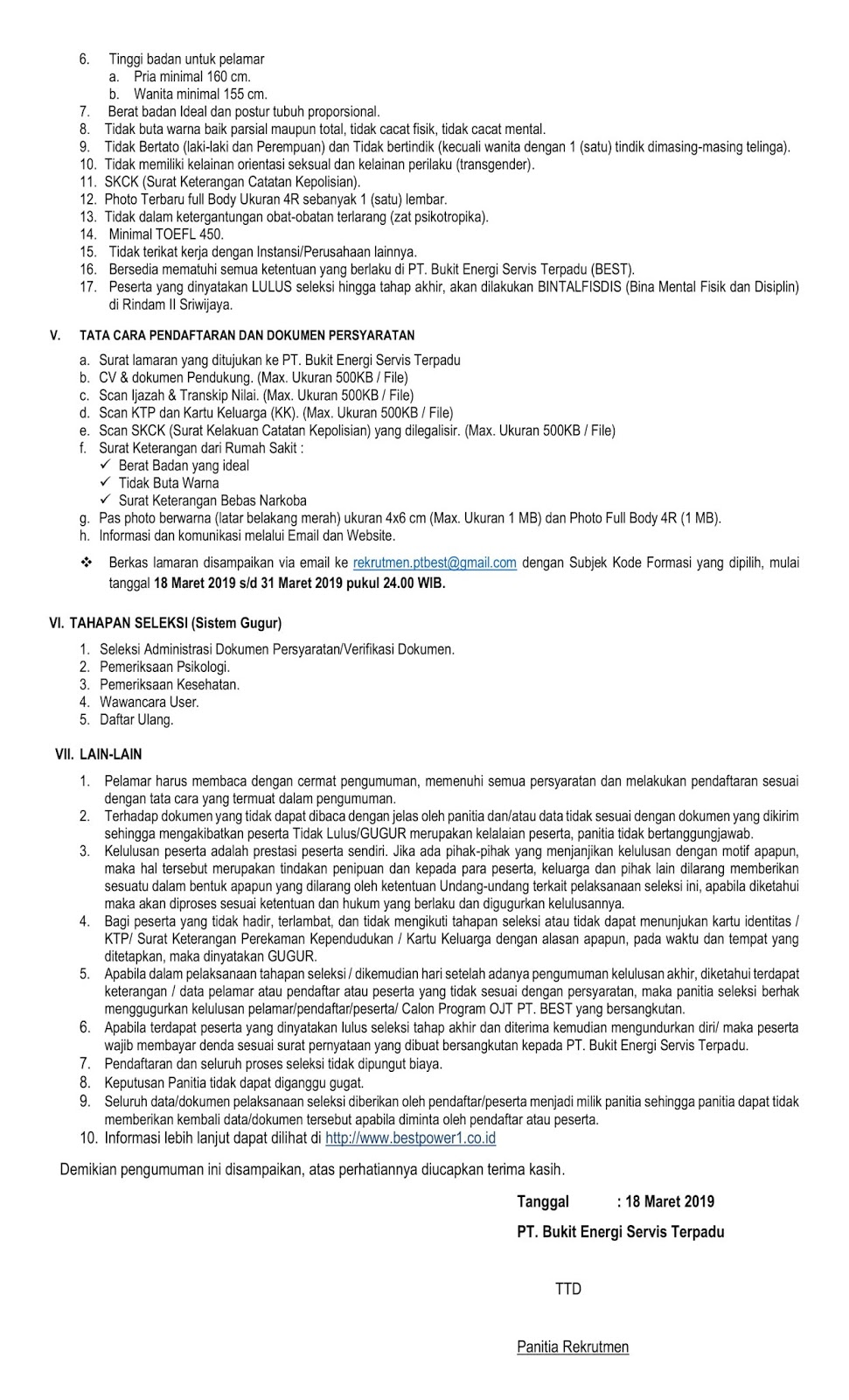 Lowongan Kerja PT Bukit Energi Servis Terpadu [PT Bukit Asam Tbk Group]