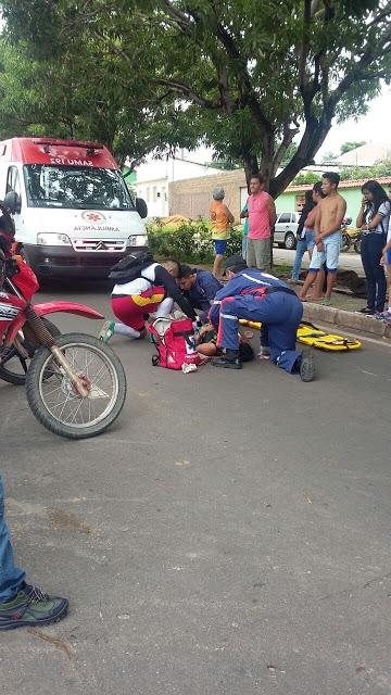 Em Santarém uma idosa é atingida por motocicleta na Presidente Vargas