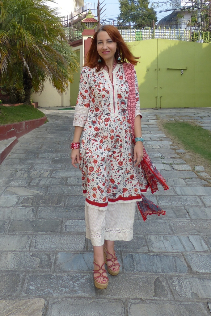 Floral dress with ankle length wide trousers