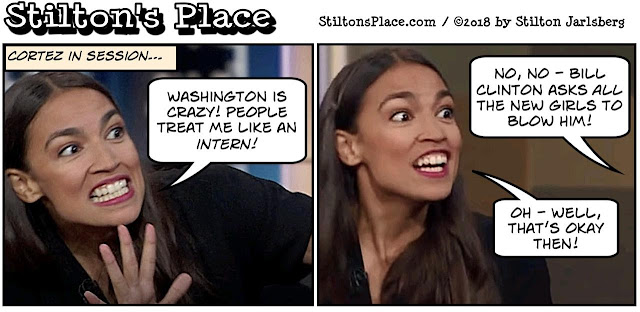 stilton's place, stilton, political, humor, conservative, cartoons, jokes, hope n' change, ocasio-cortez, intern, nuts, socialist
