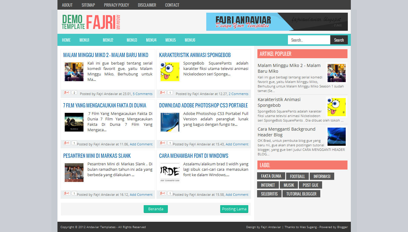 Andaviar Fast Loading Blogger Template
