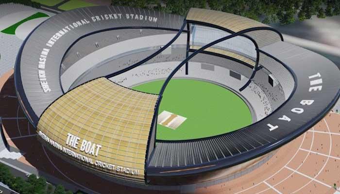 উপর থেকে শেখ হাসিনা ইন্টারন্যাশনাল ক্রিকেট স্টেডিয়ামের নকশা