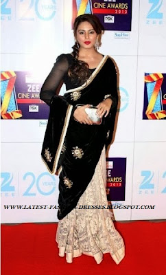 ACTRESS HUMA QURESHI IN HALF AND HALF VELVET SAREE