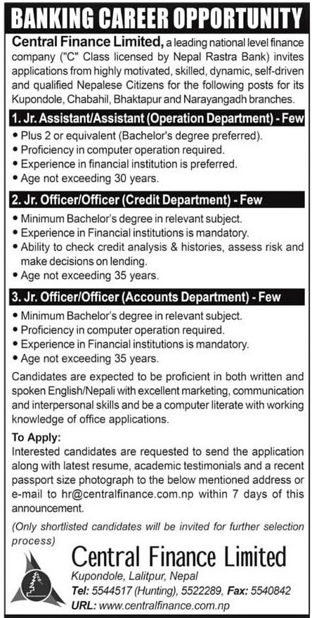 Banking Career Opportunity at Central Finance Limited