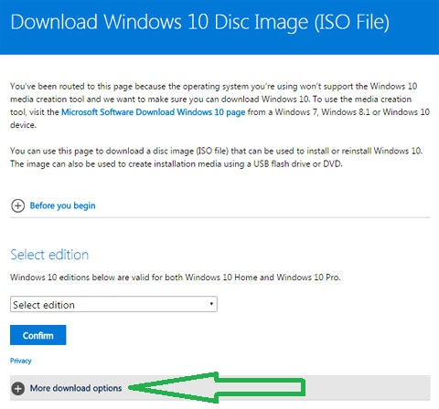 windows ISO download page