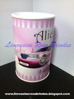 Cofrinho Limousine Rosa, Limousine Rosa, Brindes Limousine Rosa, Lembrancinha Limousine Rosa, Festa Limousine Rosa, Tema Limousine Rosa