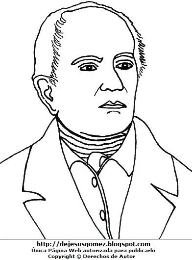 Dibujo de Andrés Bello para colorear pintar imprimir. Andrés Bello de Jesus Gómez