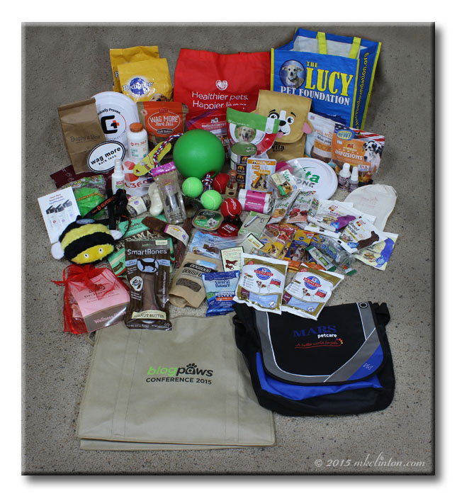 Swag bag contents from the BlogPaws conference