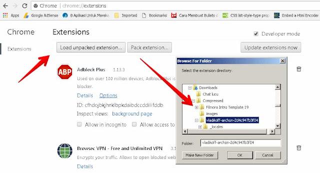 Upload Extensions google chrome