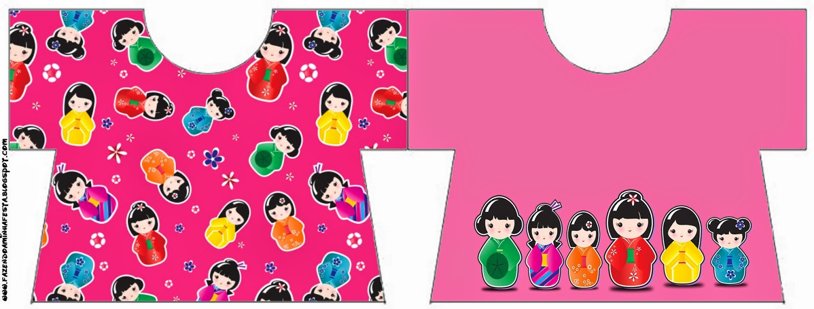 Invitacion en forma de Camiseta para Imprimir Gratis de Matrioshkas.