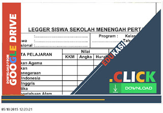 Format Leger Nilai Siswa SD, SMP, SMK, SMA, MI, MA, MTs, Template Kosong Miscrosoft Word Taahun Ajaran 2016-2017