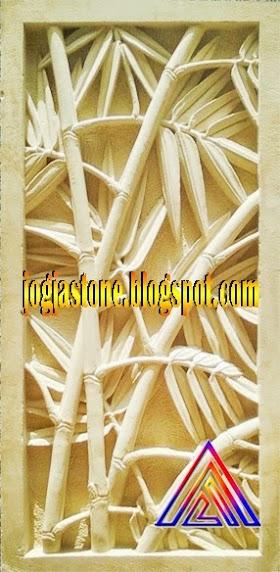 Ukiran Batu Alam Motif Bambu