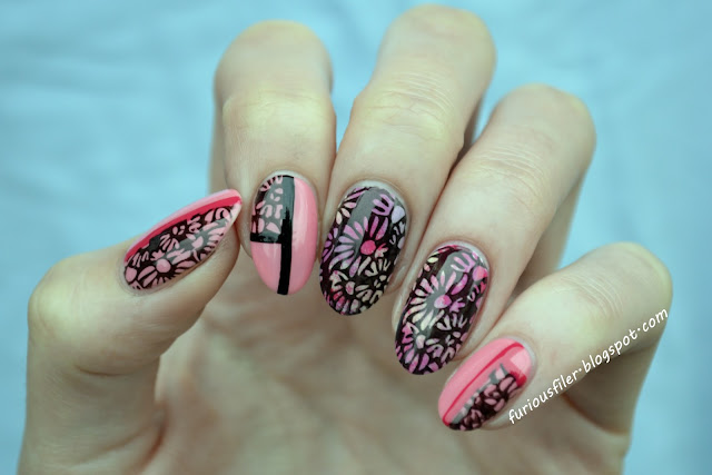 Stamping striping sponging pink summer nails