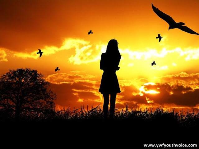 Picture of a girl thinking standing on hill photo with birds beautiful sun rise or sun set with tree Contemplation