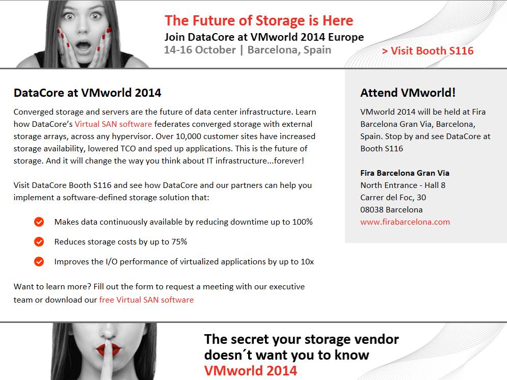 DataCore a VMworld Europe – Barcelone du au Octobre