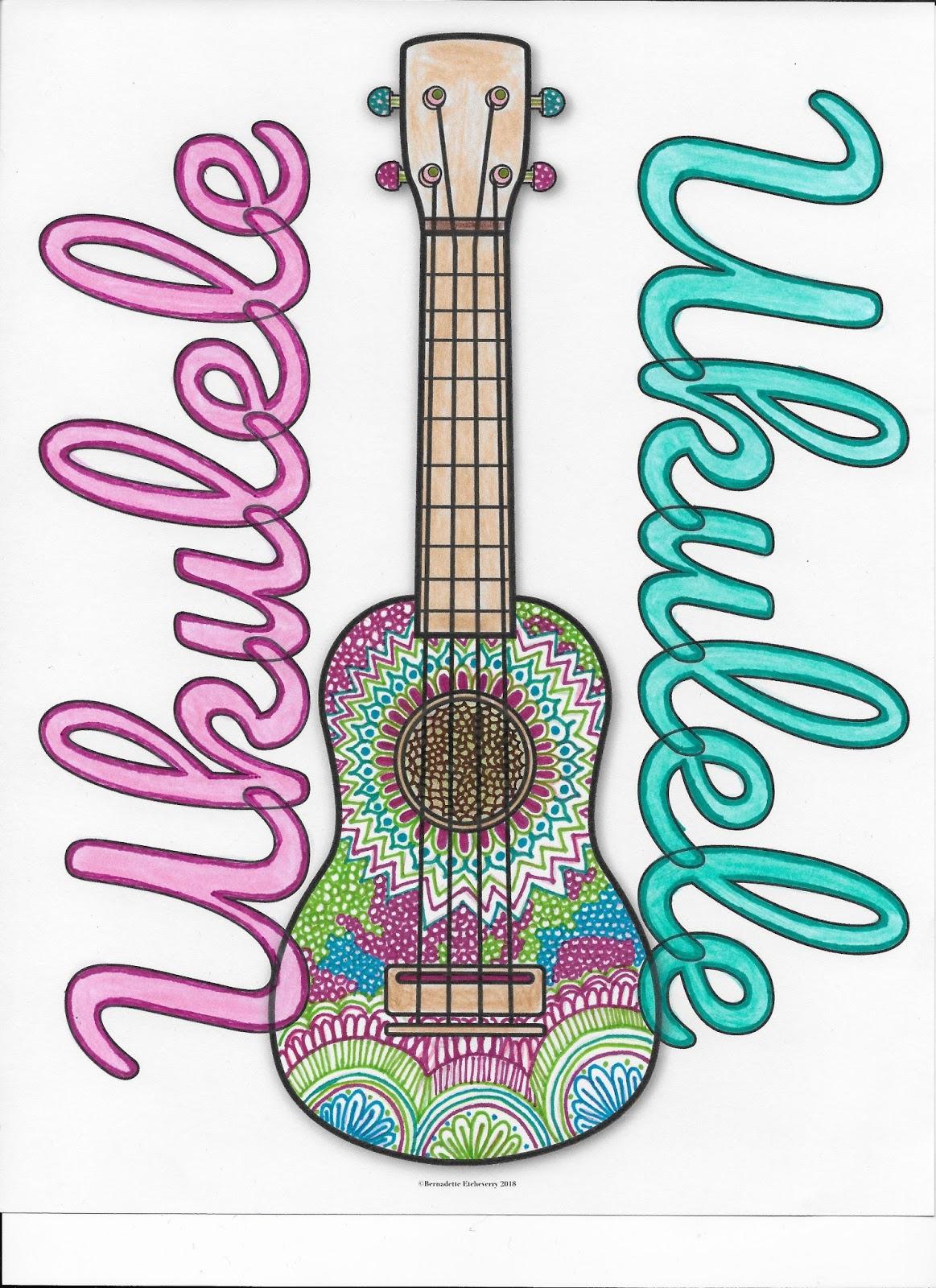 Free Ukulele Coloring Page