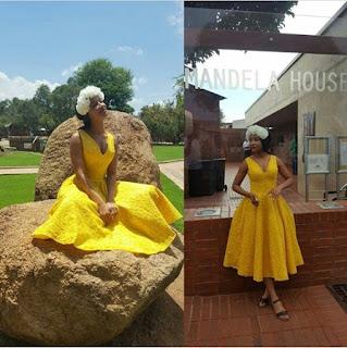 Newlywed Adesua Etomi-Wellington looks every inch the happy wife in pretty yellow dress