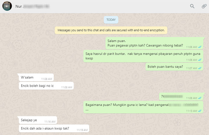 Hubungi pegawai PTPTN dengan Whatsapp untuk bantuan