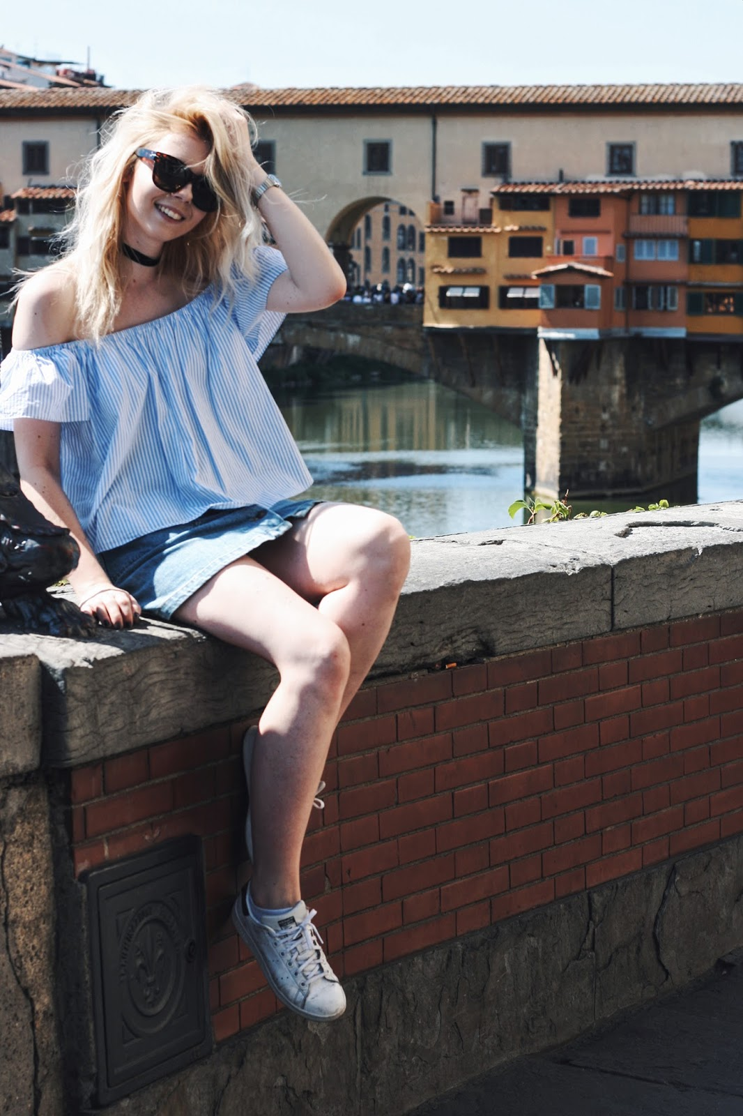 One day in Florence Ponte Vecchio Zara denim skirt off the shoulder top outfit