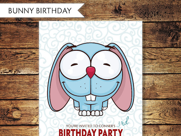Children's Bunny Birthday Invitaiton