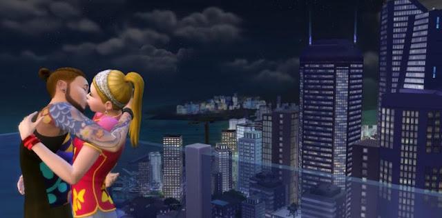 Vistas desde ático del videojuego los sims 4 urbanitas
