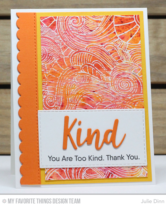 Handmade card from Julie Dinn featuring Kind Words stamp set, Wavy Coloring Book Background stamp,  and Kind & Kindness Die-namics, Horizontal Stitched Strips and Blueprints 23 Die-namics #mftstamps