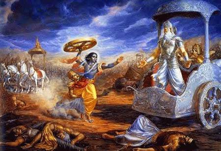 Krishna mengeluarkan Cakra Baskara Untuk Membunug Bisma