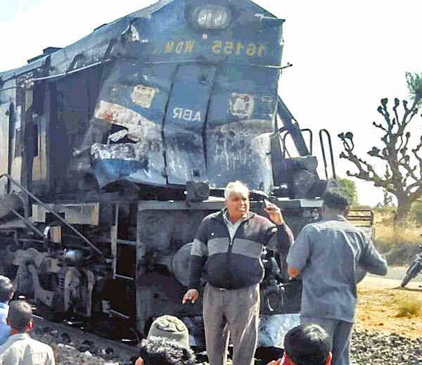 damaged train engine after accident with crane near jodhpur