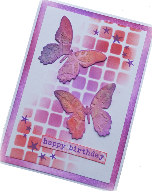 Distress Oxide Ombre birthday card - Nikki Acton