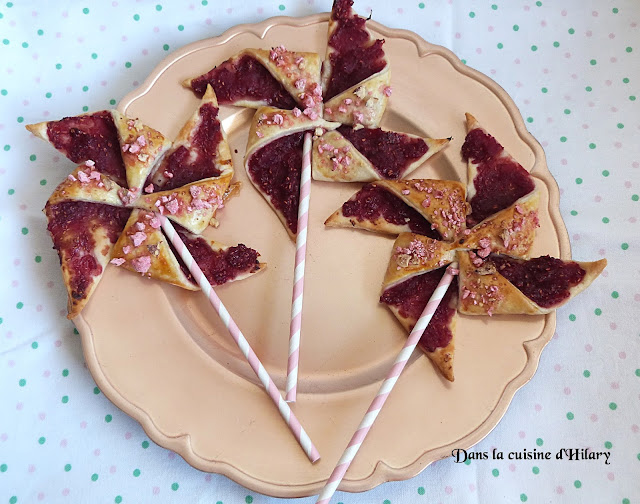 Moulins à vent gourmands pommes-framboises et pralines roses