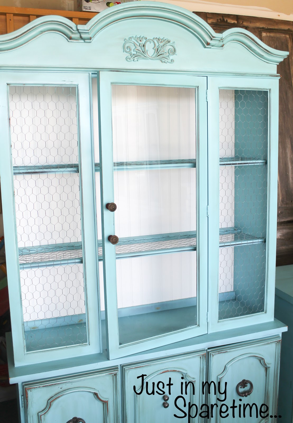 Just In My Spare Time Refinished Turquoise Hutch Sold