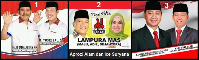 Tiga pasang calon Bupati dan wakil Bupati Kabupaten Lampung Utara 2018