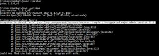 hasil dari kompilasi memberikan runtime exception Java pada command prompt Windows