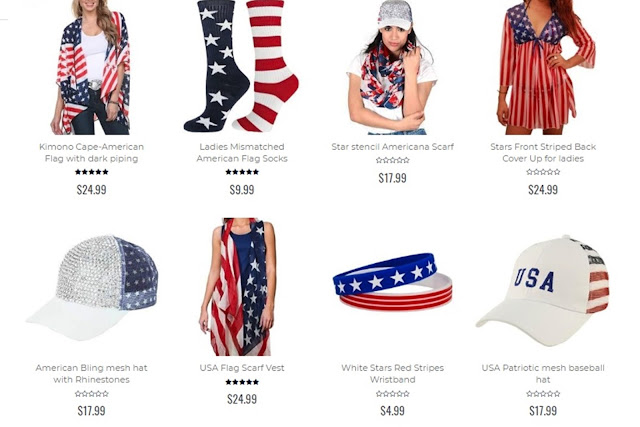 patriotic women's accessories, patriotic apparel