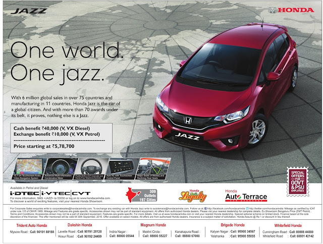 Honda Jazz with cash benefits of Rs 40K | September 2016 discount offer | festival offer