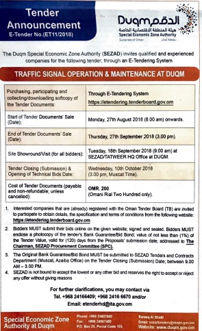 Tender announcement: traffic signal operation & maintenance at Duqm