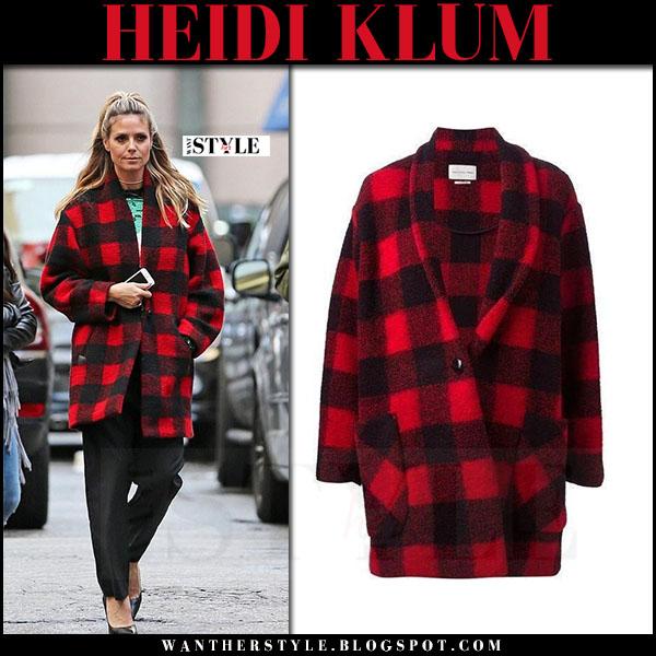 Heidi Klum in red plaid wool coat isabel marant gabrie what she wore