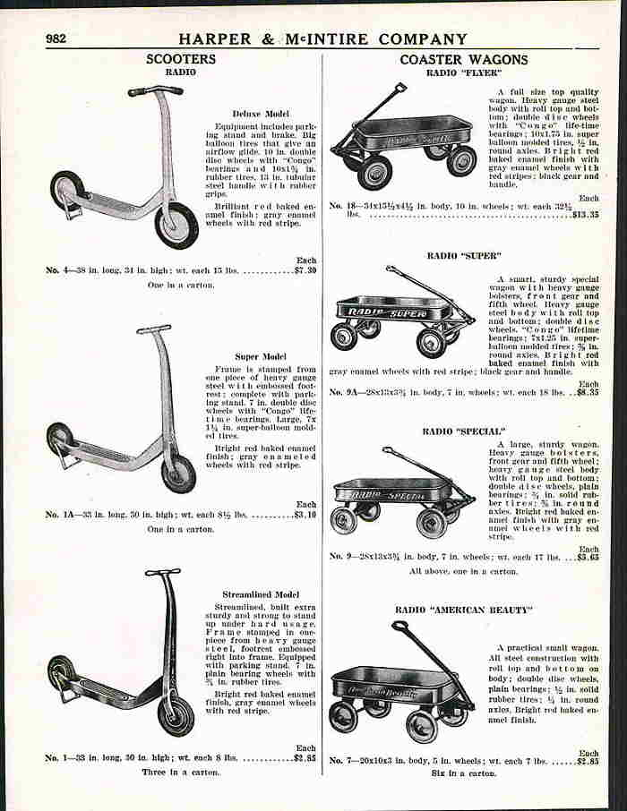 catalogue des annees 1950, qui commercialisait des produits de la marque americaine Radio Flyer