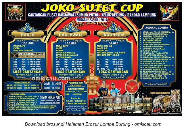 Lomba Burung Berkicau Joko Sutet Cup, Bandar Lampung, 23 Juli 2017