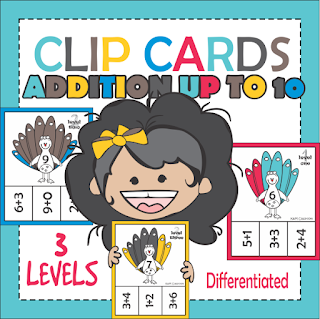 Addition Clip Cards up to 10 Math Center Differentiated