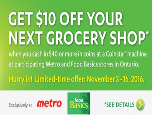 Metro & Food Basics $10 Off Grocery Shop Coinstar Offer