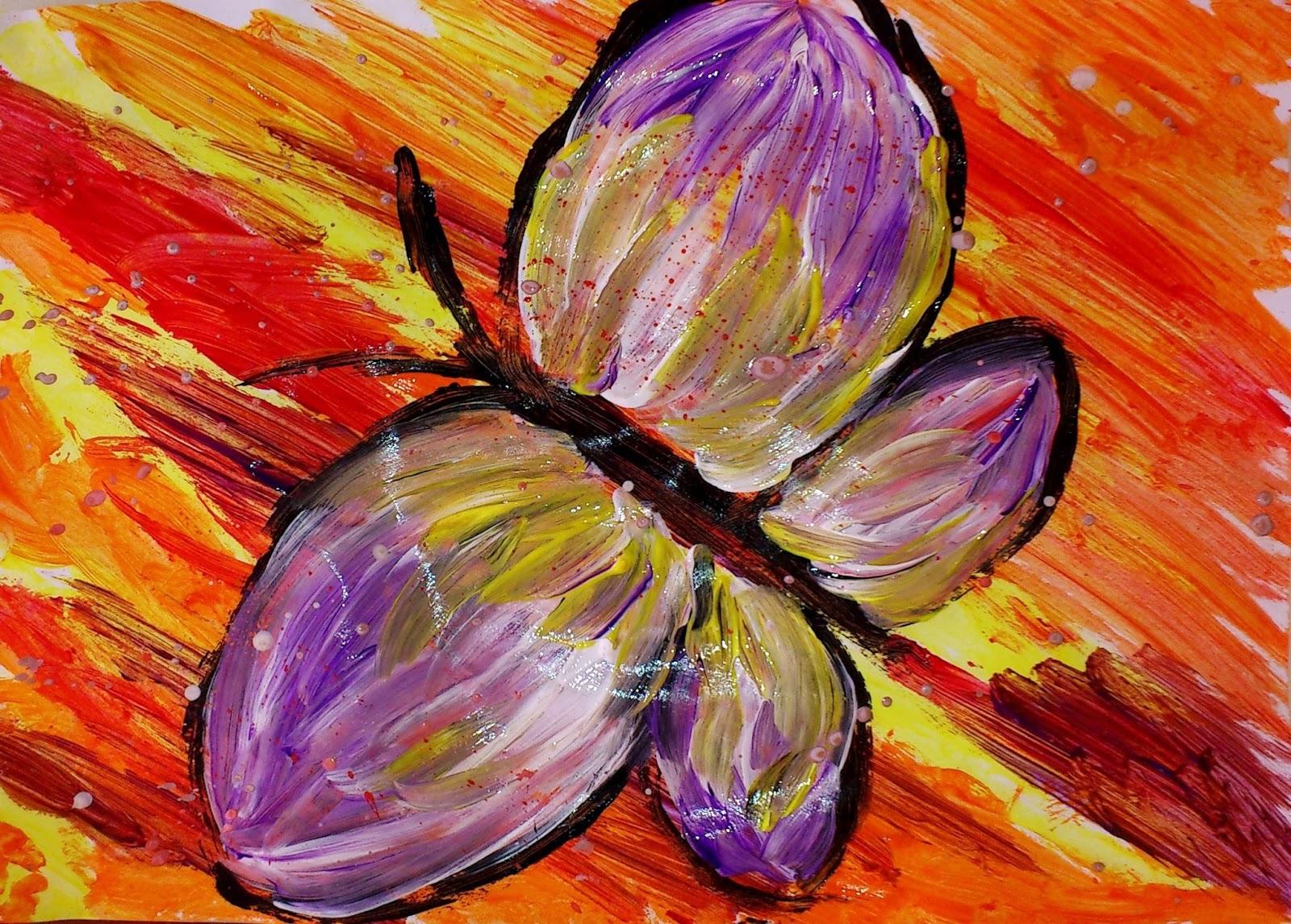 Fluturi pictura copii primavara pasti