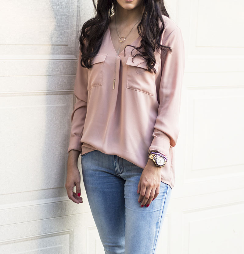 light wash jeans with blush blouse ootd