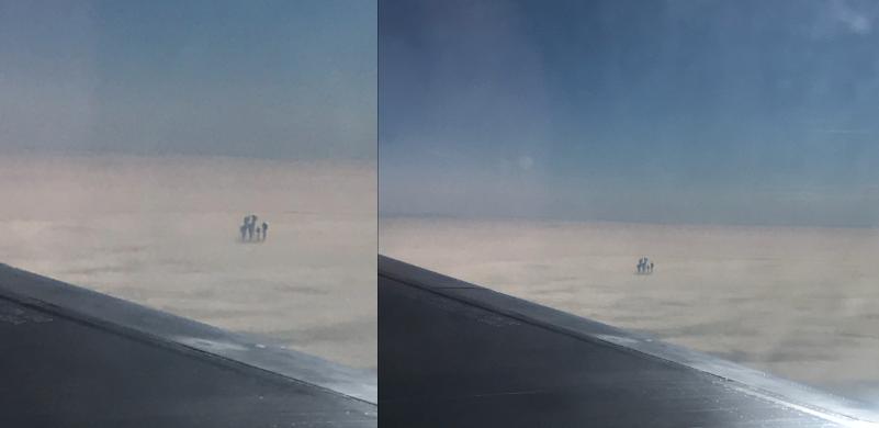 Resultado de imagen para Pasajero de avión fotografía extrañas figuras sobre las nubes
