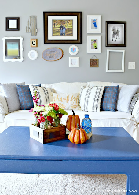 Navy blue and white fall living room decor