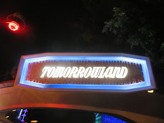 Tomorrowland Sign Disneyland night