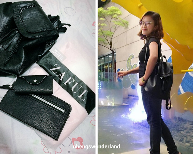 ZAFUL - Tassel Faux Leather Backpack Set