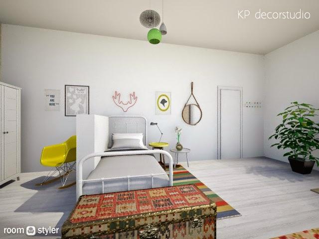 Proyecto Interiorismo Dormitorio juvenil estilo escandinavo vintage