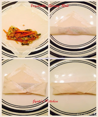 Step by step picture for Vegetable Spring Roll for stuffing and fold