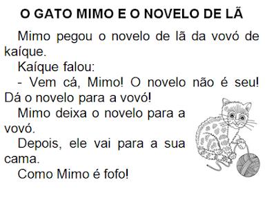 Texto O GATO MIMO E O NOVELO DE LÃ